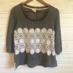 Anthropologie 3/4 sleeve lace top